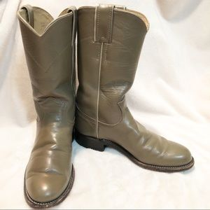 Justin | Taupe kids leather roper cowboy boots